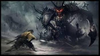 hunter battling the demon